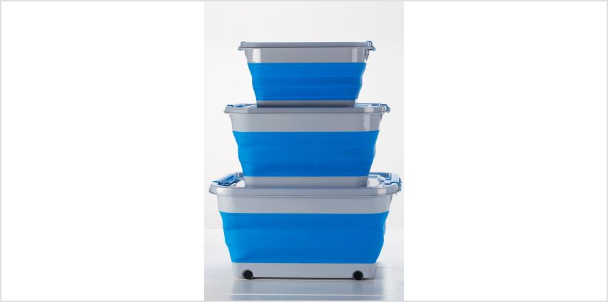 Set of 3 Collapsible Storage Boxes and Lids from Studio