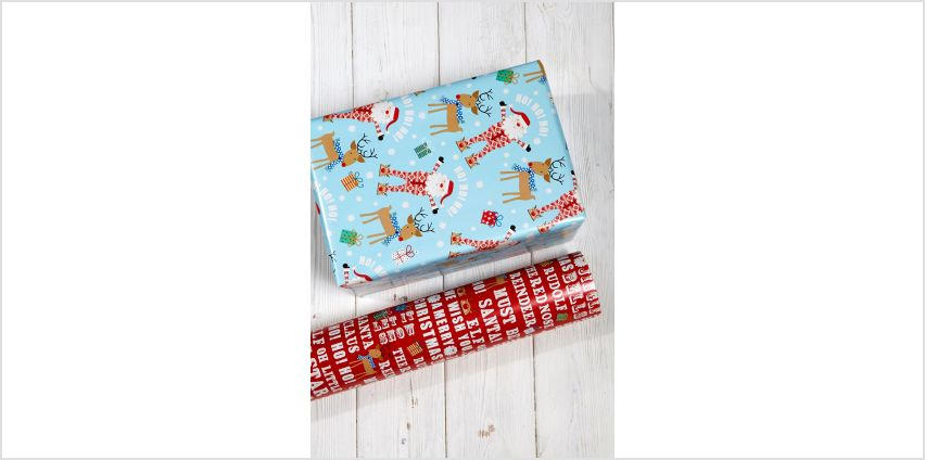 2m Santa and Rudolf Twin Pack Roll Wrap from Studio