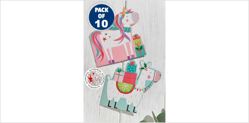 10 Unicorn and Llama Christmas Cards from Studio