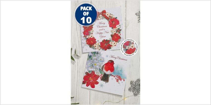 10 Floral Robin and Wreath Cards from Studio
