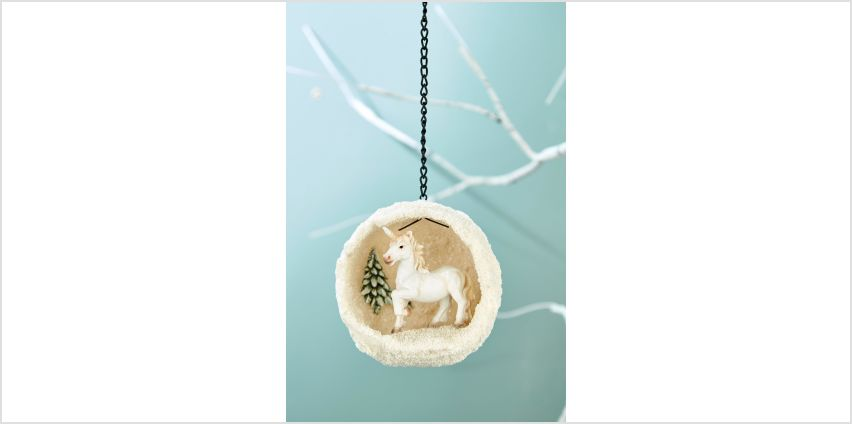 Hanging Unicorn Snowball Tree Decoration from Studio