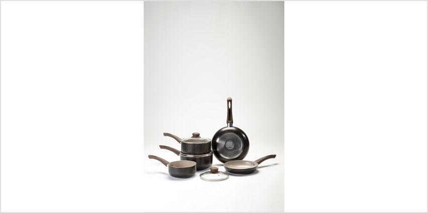 5-Piece Stone Effect Brown Pan Set from Studio