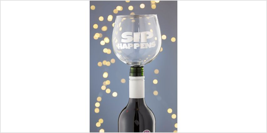 Tipple Topper Wine Glass Sip Happens from Studio