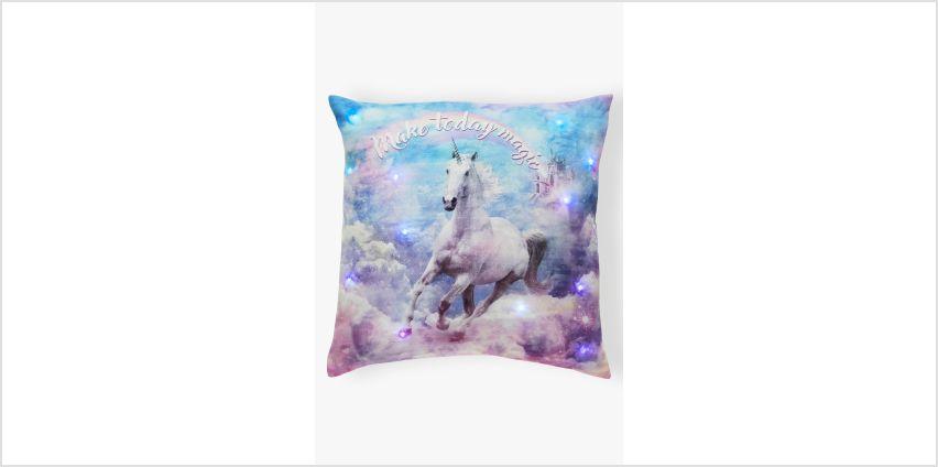 Rainbow Unicorn Light Up Filled Cushion from Studio