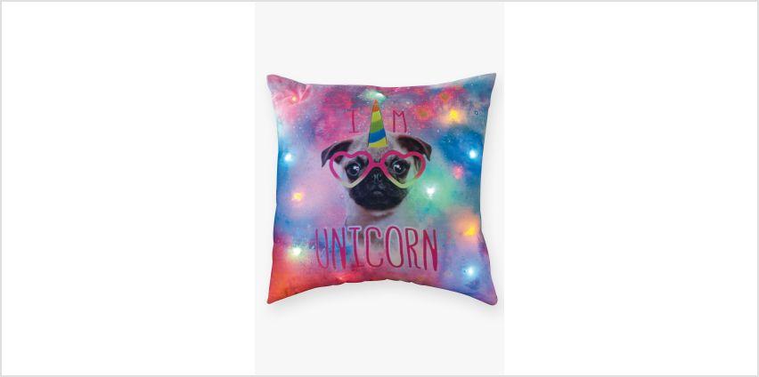 Pug Unicorn Light Up Filled Cushion from Studio