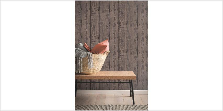 Mahogany Wood Plank Wallpaper from Studio