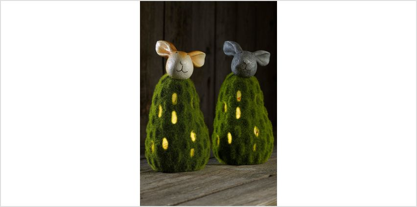 Set of 2 Solar Flocked Rabbits from Studio