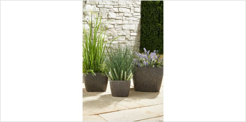 Stone Effect Resin Planters – Set of 3 from Studio