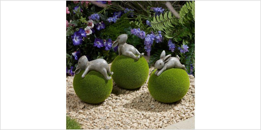 Set of 3 Flocked Rabbits Garden Ornaments from Studio
