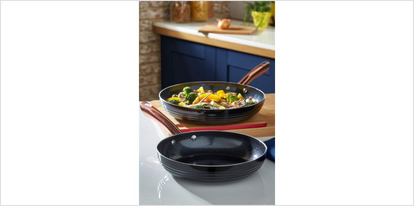 Tower Linear Black Rose Gold 2-Piece Frying Pan Set from Studio