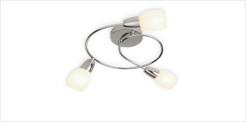 3 Light Chrome Ceiling Fitting with Stripe Glass Shade from Studio