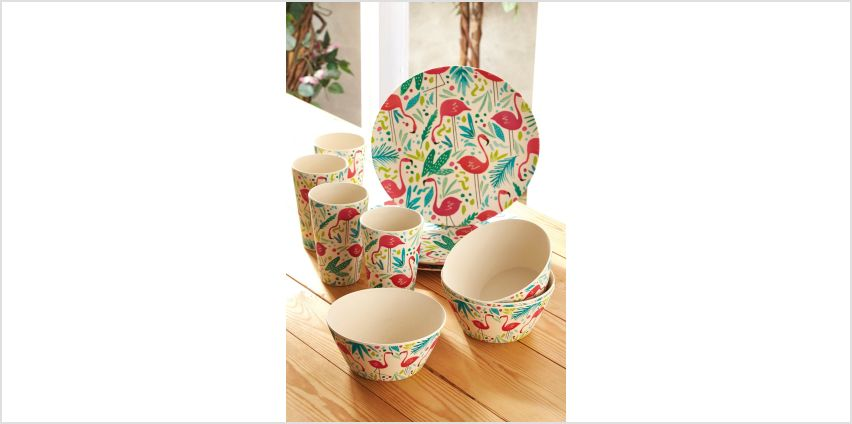 Cambridge 12-Piece Flamingo Bamboo Dinner Set from Studio