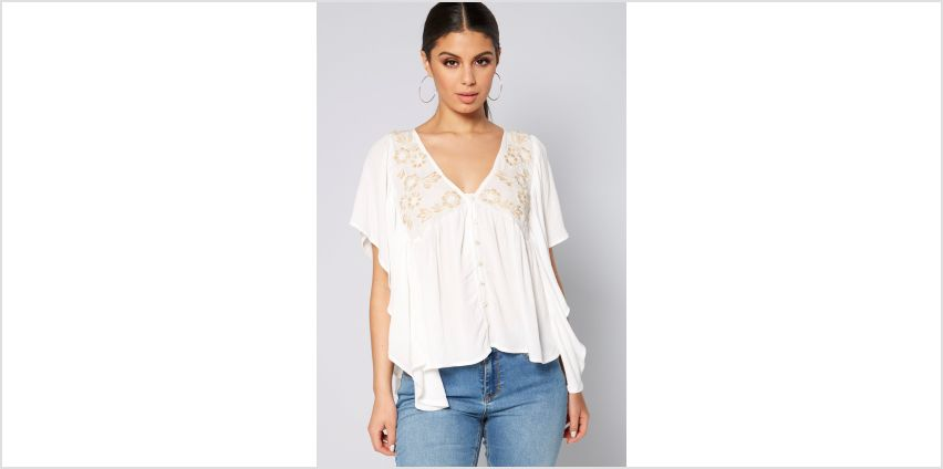 Crinkle Embellished Batwing Top from Studio