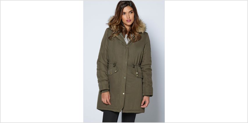 Faux Fur Trim Hood Parka with Draw String Waist from Studio