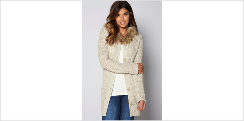 Faux Fur Hooded Knitted Button Cardigan from Studio
