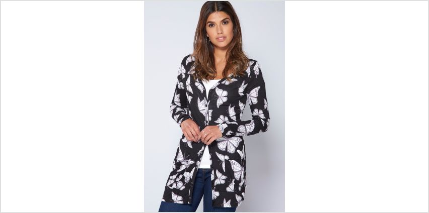 Black Butterfly Print Boyfriend Cardigan from Studio