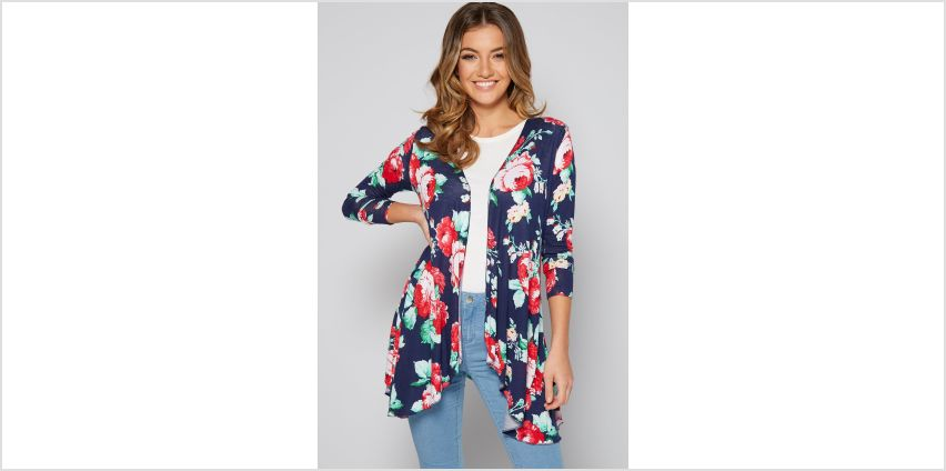 Navy Floral Waterfall Cardigan from Studio
