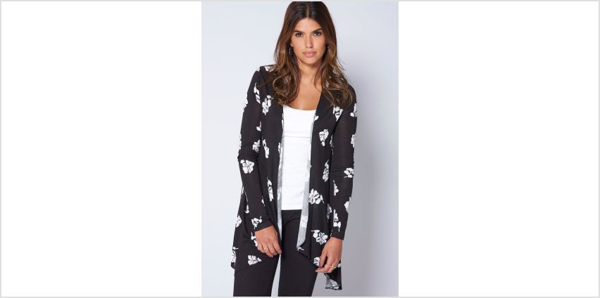 Black Floral Print Waterfall Cardigan from Studio