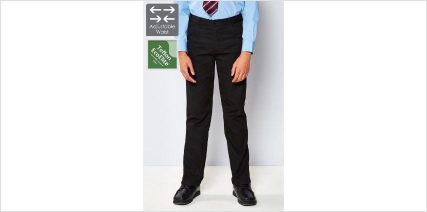 Boys Adjustable Waist Slim Leg Trouser - Black from Studio