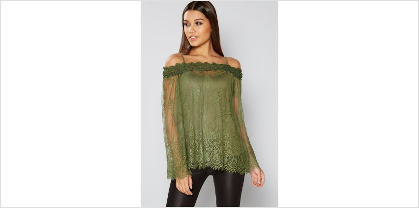 Club L Bardot Lace Bell Sleeve Tunic Top from Studio