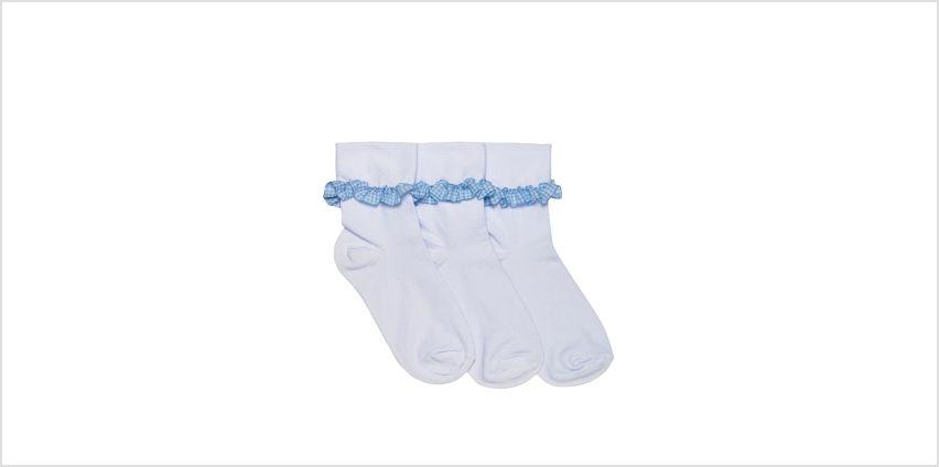 Girls Pack of 3 Frilly Gingham Socks from Studio