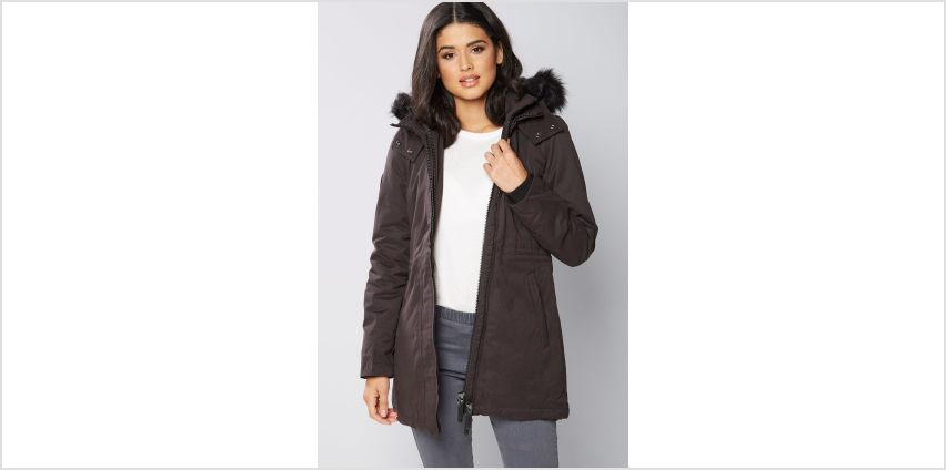 Superdry Microfibre Parka with Faux Fur Trim Hood from Studio