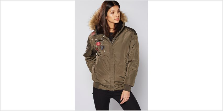 Khaki Embroidered Bomber Jacket with Faux Fur Trim Hood from Studio
