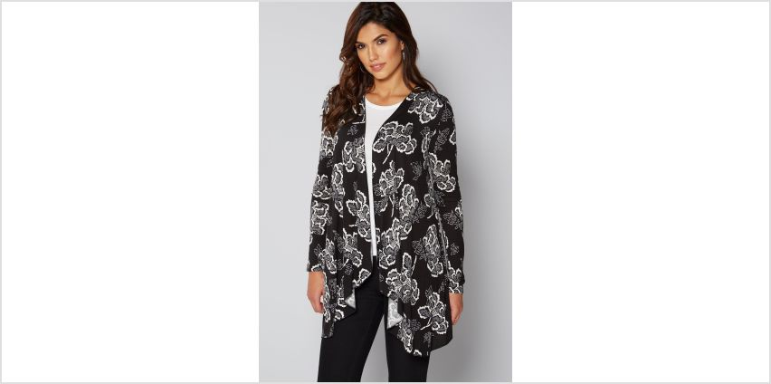 Black Floral Waterfall Cardigan from Studio