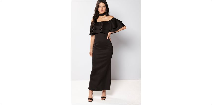 Club L Bardot Choker Double Frill Maxi Dress from Studio