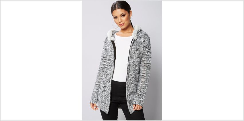 Faux Fur Trim Cable Cardigan from Studio