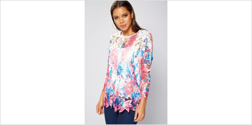Club L Crochet Flower Embroidered Top from Studio