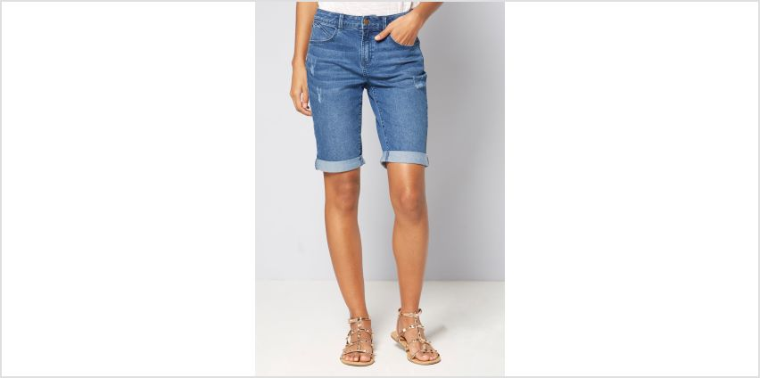 Longline Denim Turn Up Shorts from Studio