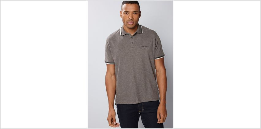 Pierre Cardin Charcoal Marl Tipped Polo Shirt from Studio