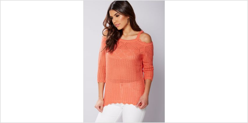 Open Knit Cold Shoulder Jumper from Studio