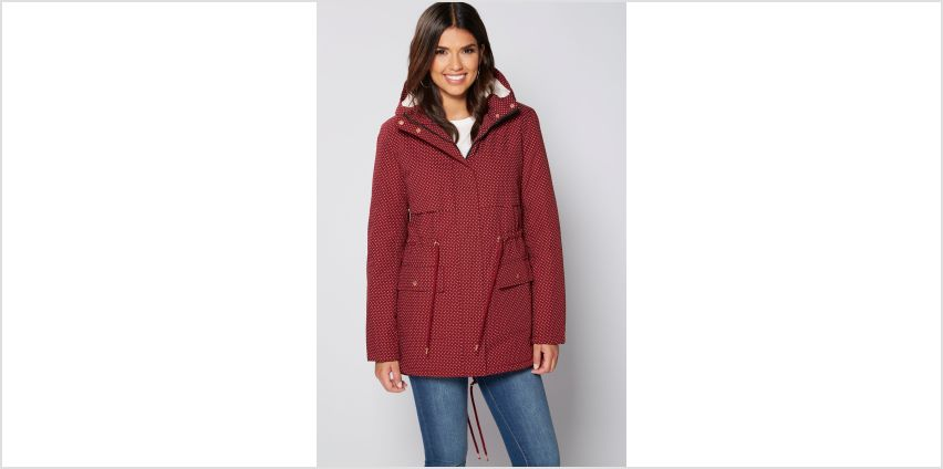 Burgundy Spotty Borg Parka from Studio
