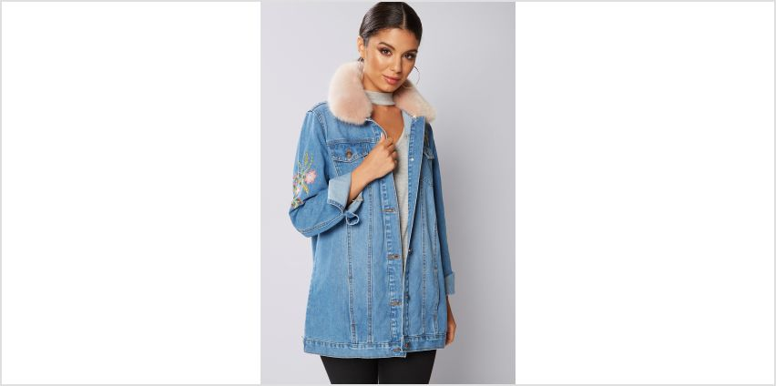 Faux Fur Trim Denim Jacket from Studio