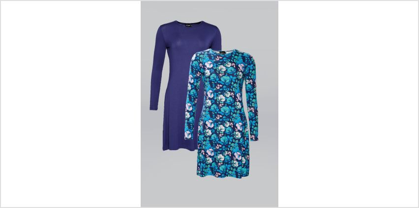 Pack of 2 Navy/Teal Floral Swing Dresses from Studio