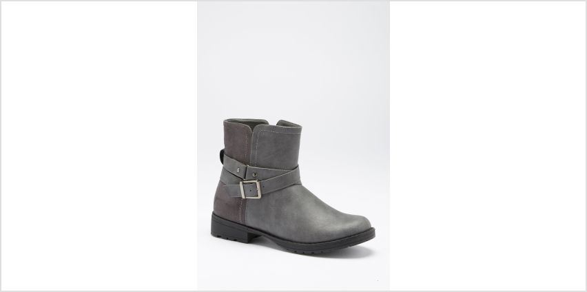 Double Strap Borg Lining Biker Boots from Studio