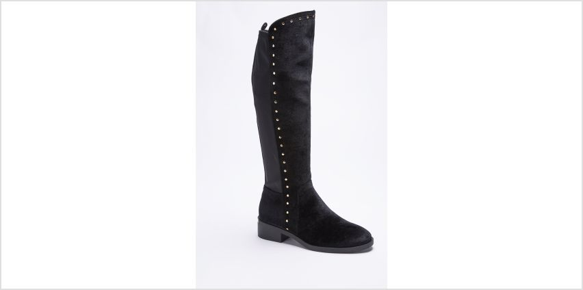 Velvet Stud Knee High Boots from Studio