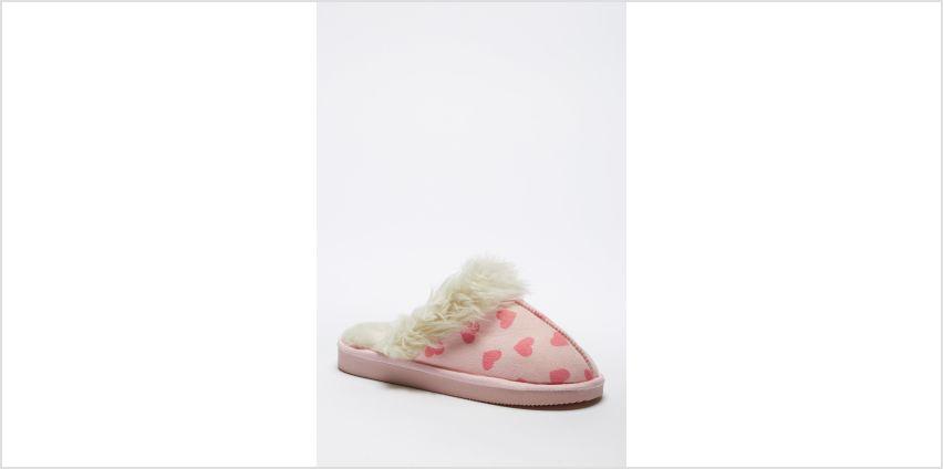 Luxury Heart Print Mule Slippers from Studio