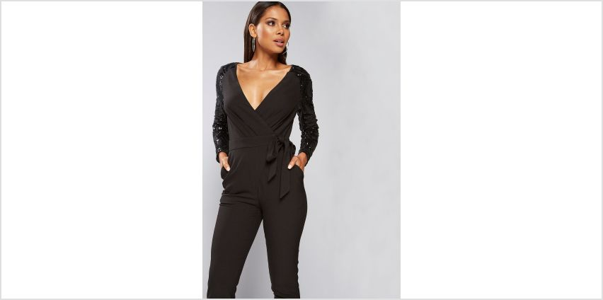 Little Mistress Wrap Sequin Sleeve Jumpsuit from Studio