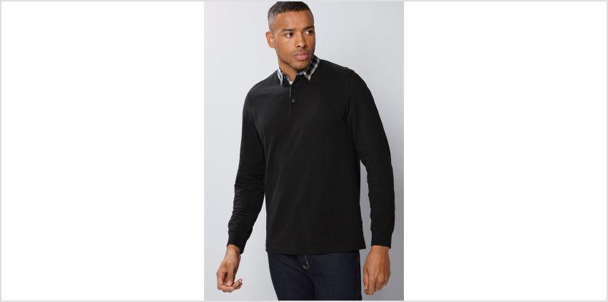 Pierre Cardin Check Collar Long Sleeve Polo Shirt from Studio