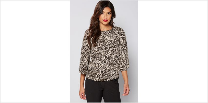 Animal Print Batwing Necklace Top from Studio