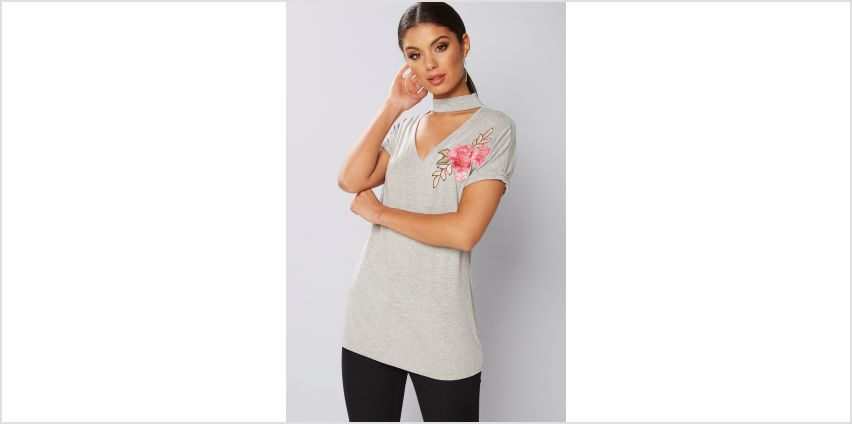 Choker T-Shirt with Floral Applique from Studio