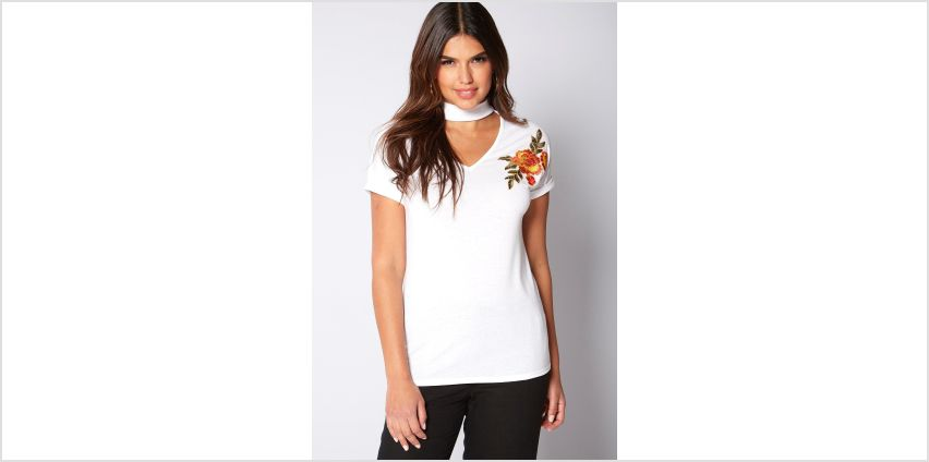 Short Sleeve Embellished Choker Top from Studio