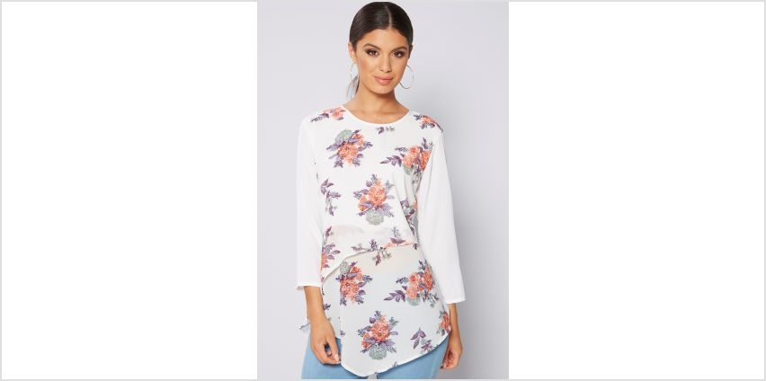 White Floral Layered Dip Back Top from Studio