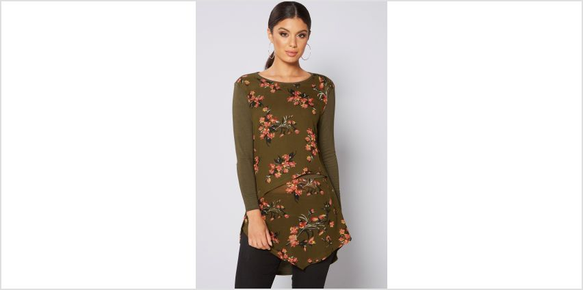 Khaki Floral Layered Dip Back Top from Studio