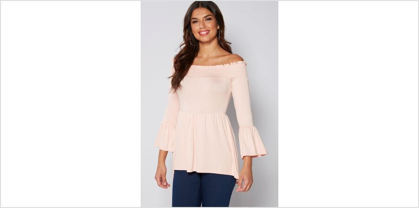 Shirred Bardot Pink Flute Sleeve Top from Studio