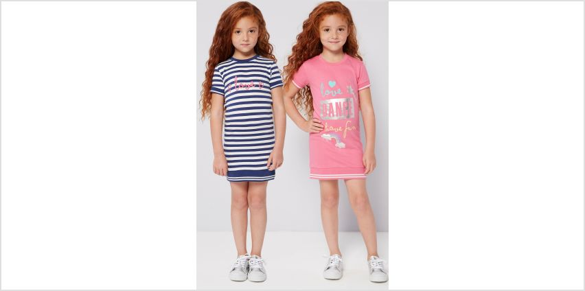 Younger Girls Pack of 2 Dance Squad T-Shirt Dresses from Studio