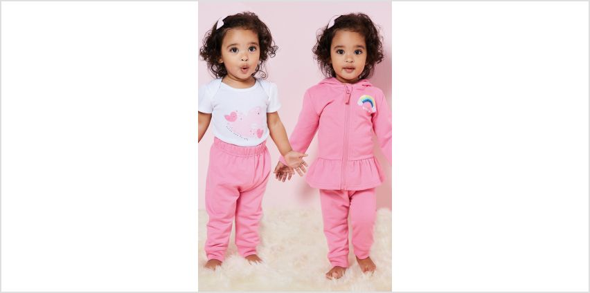 Baby Girls 3-Piece Rainbow Heart Jog Set and Body Suit from Studio